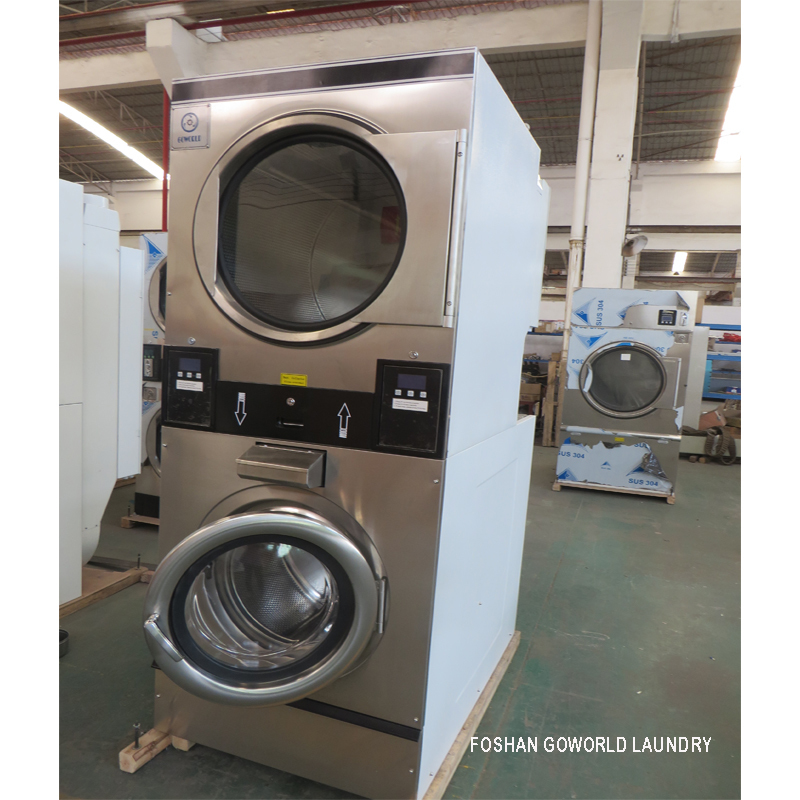 GOWORLD commercial stackable washer and dryer sets natural gas heating for school