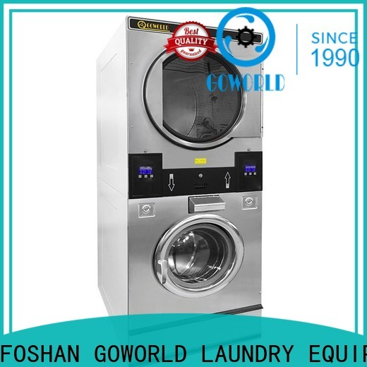 GOWORLD dryer stackable washer dryer combo LPG gas heating for commercial laundromat