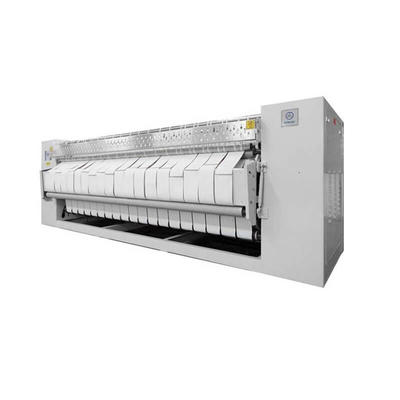 Roller style bed sheet flat ironer in hospital laundry