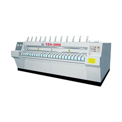 Chest-roller style flatwork ironer machine for textile laundry plant