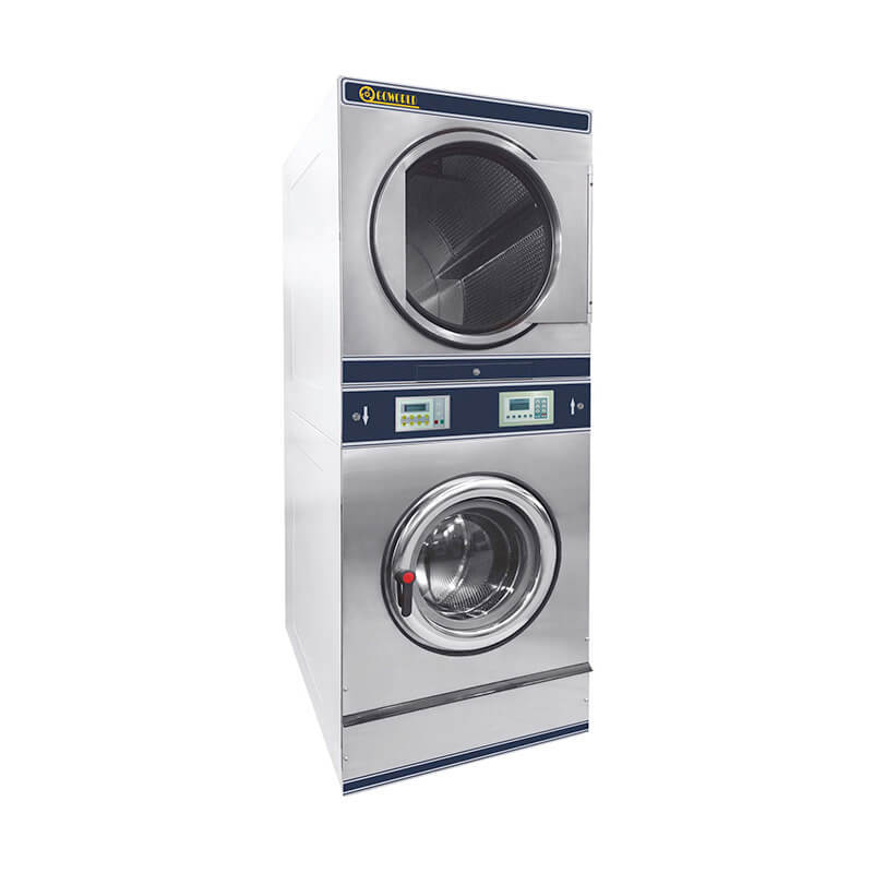 8kg-15kg Commercial stack washer dryer machine in laundry shop,hotel
