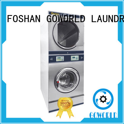 GOWORLD Manual stackable washer and dryer sets LPG gas heating for commercial laundromat