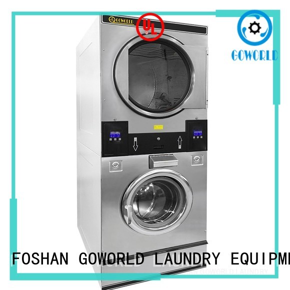 GOWORLD 8kg15kg stacking washer dryer natural gas heating for laundry shop