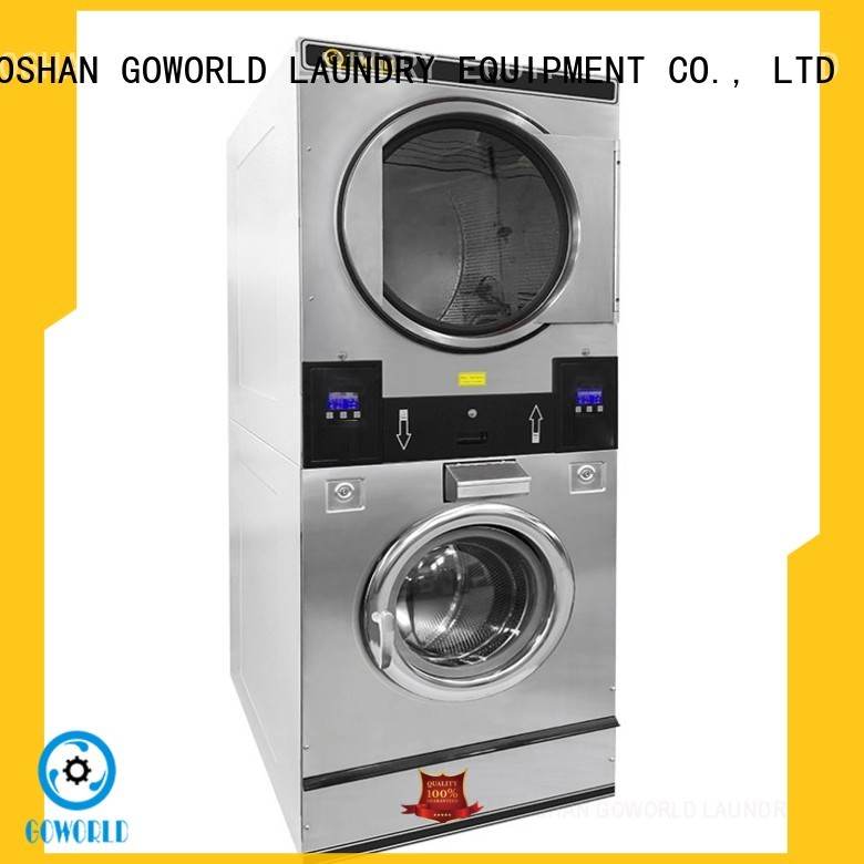 GOWORLD Low Noise stacking washer dryer LPG gas heating for laundry shop