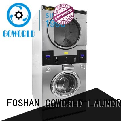 GOWORLD Automatic stacking washer dryer electric heating for commercial laundromat