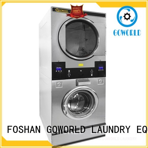 GOWORLD Automatic stackable washer and dryer sets LPG gas heating for school