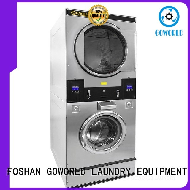 GOWORLD Automatic stackable washer dryer combo LPG gas heating for school
